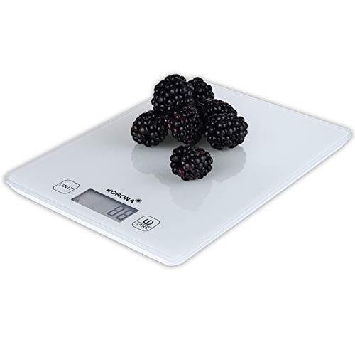 Korona 70245 Esther weiss – digitale Küchenwaage, elektronisch, Tara, 5 kg Tragkraft, 1 gr Einteilung, Abschaltautomatik, Überlastungsanzeige