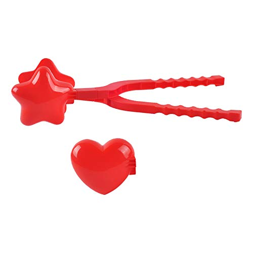 Schneeball Zange Star Schneeball Maker Winter Kunststoff Schneeball Maker Liebe Herzform Schneeball Maker Clip Kinder Outdoor Schimmel Spielzeug (Rot)