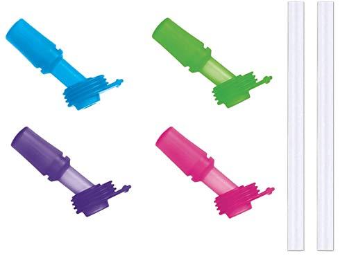VOSOE Kids Bite Valves fit CamelBak Eddy Kids Water Bottle (Blue/Green/Lilac/Pink with 2 Straws)