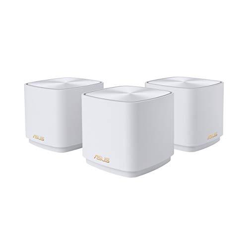 ASUS ZenWifi AX Mini (XD4) - Pack de 3 Sistemas de Red mallada Wi-Fi 6 AX1800, (Cubre hasta 446 m2, instalación Sencilla, Funciones de Seguridad y Controles parentales), Color Blanco