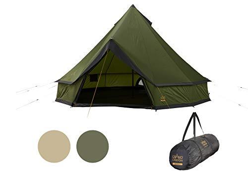Grand Canyon INDIANA 8 - Carpa redonda para 8 personas | Carpa familiar, carpa para grupos, carpa piramidal, Tipi | Capulet Olive (verde)