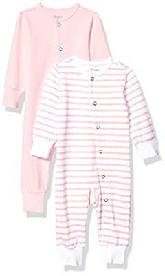 Hanes Ultimate Baby Flexy 2 Pack Sleep and Play Suits, Light Pink Stripe, 12-18 Months