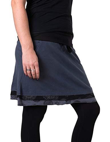 Vishes - Alternative Bekleidung - Kurzer Lagenlook Rock aus Baumwolle - mit Taschen zum Binden schwarz-grau 36