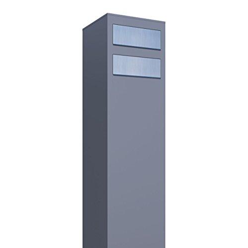 Briefkastenanlage, Design Briefkasten Monolith for Two Grau Metallic/Edelstahl - Bravios