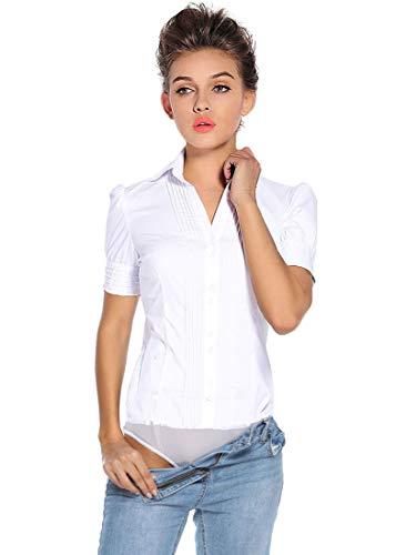 Soojun Women's Short Sleeve Bodysuit Button Down Formal Dress Shirts Type 1 White US 8