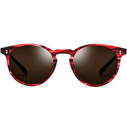 DKee Gafas de sol polarizadas para hombre, montura redonda, diseño de leopardo, lentes marrones, protección UV400 (color: rojo)