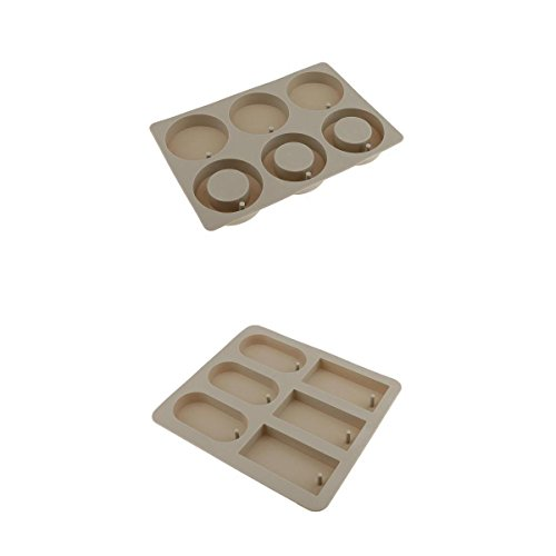 Baoblaze 2 Pieces Mixed DIY Silicone Mould Soy Candles Aroma Wax Tablets Mold for Dried Flowers Resin Soap Clay Craft Making Mold DIY Pendant Bookmark Necklace Jewelry Making Mould