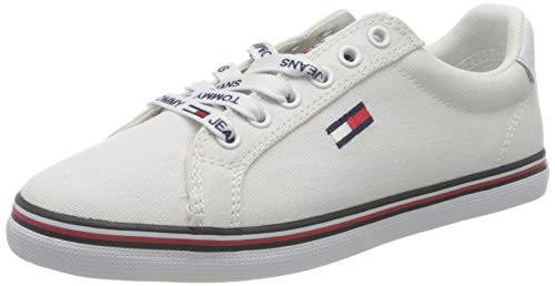 Tommy Jeans Essential Lace Up Sneaker, Zapatillas Mujer, Blanco (White Ybs), 39 EU