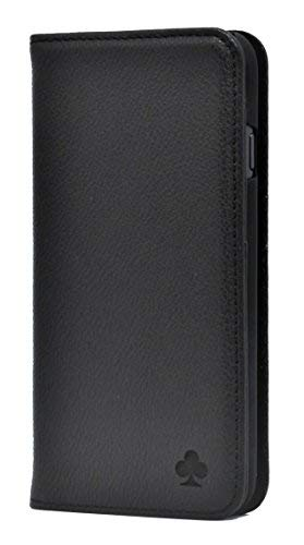 Porter Riley - Lederhülle für iPhone XR. Premium Echtleder Standhülle/Cover/Brieftasche kompatibel mit iPhone XR (Pures Schwarz)