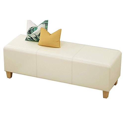YCSD Faux Leather Upholstered Stool Bench Ottoman Square Pouffe Footstool Wooden Change Shoes Stool Footrest Stool for Bedroom Living Room Hallway(Color:White,Size:60cm)