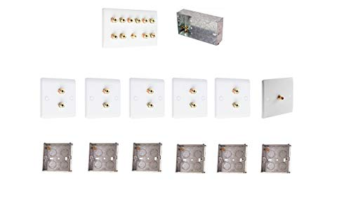 5.1 Audio/AV Surround Sound Speaker Wall Plate Kit White with Gold Binding Posts + 1 RCA + metal back boxes. NO SOLDERING REQUIRED