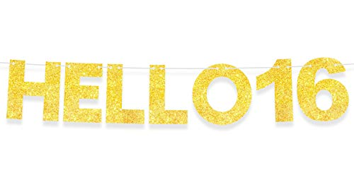 Hello 16 Banner Happy Birthday Gold Glitter Theme Party Decor Picks for 16th Years Old Birthday Bunting Garland Decorations Supplies