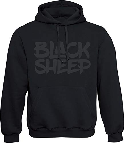 Hoodie: Black Sheep - Schwarzes Schaf - Urban Streetwear Kapuzenpullover für Herren & Damen - Geschenk Hip Hop Rap - Sweatshirt Gangster - Sweater MMA Fight Boxer - Nerd Gamer - Sport Kapuze-n (L)