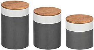 Wenko Lot de 3 boites de Conservation céramique avec Couvercle hermétique en Bambou
