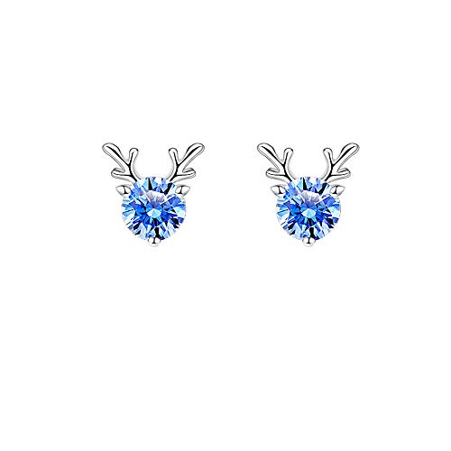 Deer Series Earrings,S925 Sterling Silver Earrings/Cubic Zircon/Hypoallergenic Jewellery,Symbolizing Accompany and Eternity,Gifts for Her Birthday/Christmas/Wedding Anniversary/Valentine's Day (Blue)