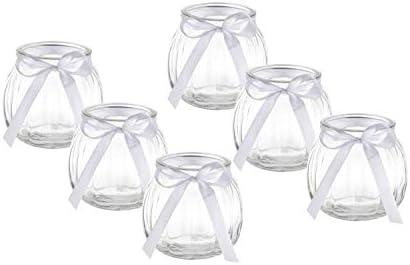 casavetro 12 x florero de Lazo Blanco o Rosa portavelas de Mesa Decorativo Jarr/ón portavelas para Velas de t/é Set Vasos,