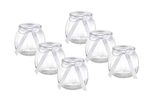 casavetro 12 x Deko-Vase Schleife Weiss oder rosa Kleine Teelichtgläser Tisch-vase Dekoration Windlicht Teelicht-Gläser Hochzeit Party Set Flasche Glas klar (12 x Weisse Schleife)