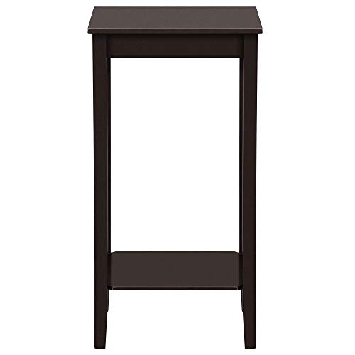 Yaheetech Modern Tall End Table Sofa Couch Side Coffee Table for Narrow Space, Plant/Telephone Stand with Open Shelf Wood, Espresso
