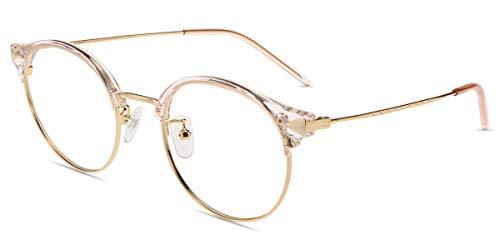 Firmoo Lesebrille mit Blaulichtfilter für Damen Herren, Anti Blaulicht Computerbrille mit Sehstärke, Runde Lesehilfe Sehhilfe Brille Blendfrei Kratzfest, Rahmenbreite 133mm-Mittel (Pink-Gold, 0.0x)