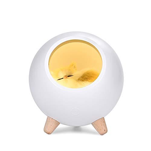 Luz de la Noche de los Niños,Luz de Noche LED–Pequeño Mascota Casa Lámpara con Muñeca de Gato,Luz de Noche Recargable USB para Dormitorio de Bebé Sala de Estar Decorativa(Blanco)