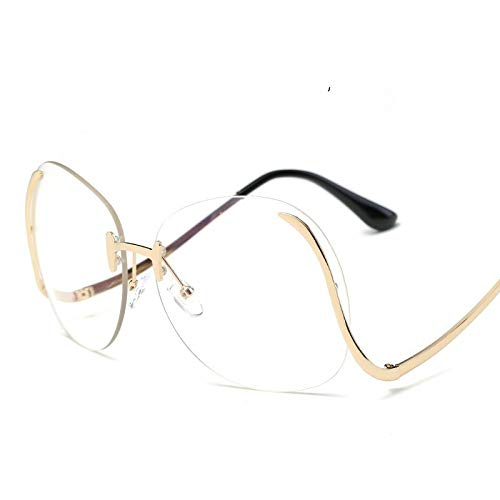 Randlose Sonnenbrille,Fashion Trend Streetshot Transparenten Abdeckscheiben, Robustes Metall Gebogenen Rahmen, 100% Uv-Schutz Frauen Und Männer Gläser, Rahmenlose Brille Für Outdoor Fahren Angeln