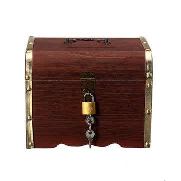 TuToy 3 Tipos Caja De Caja De Almacenamiento De Regalo De Pulsera De Collar De Joyería De Cerradura De Madera Vintage - Dorado - L