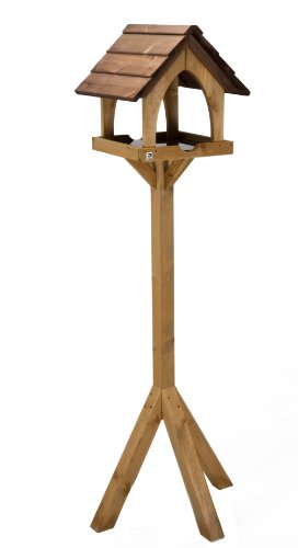 Photo of RSPB Wild Bird Gothic Style Garden Bird Table, Freestanding, ideal for RSPB Table Mix, Seed, Peanuts, Mealworm, Sunflower, Nyjer & more, FSC Timber, Pressure Treated, Supporting the RSPB Charity