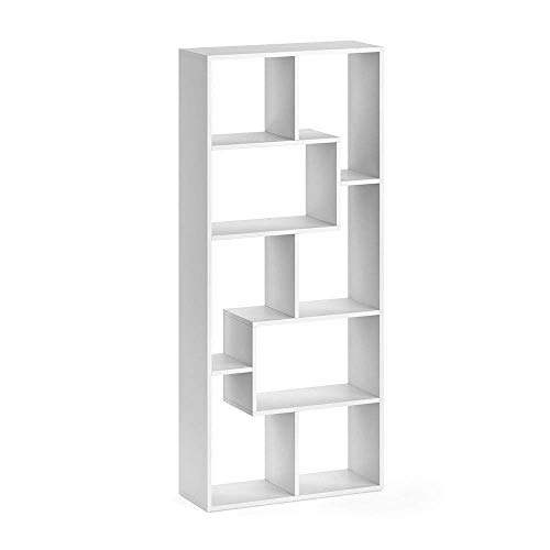 Vicco Raumteiler NOA Bücherregal Standregal Aktenregal Hochregal Aufbewahrung Regal +++Verschiedene Dekore +++ (Weiß)