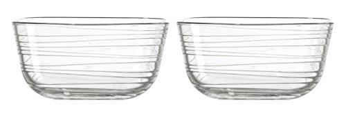 Leonardo Gusto Struttura Glas-Schale, spülmaschinengeeignete Dessert-Schüsseln, 2er Set, 100 x 200 x 200 mm (HxBxT), 038113