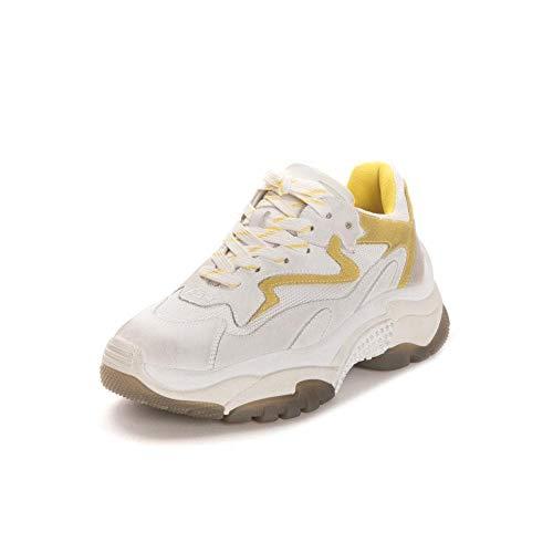 Ash Addict Zapatillas de Deporte de Cuero Amarillo Desgastado y Malla 39 White.