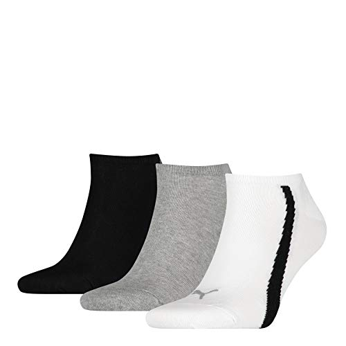 PUMA Lifestyle Sneaker-Trainer Socks (3 Pack) Calcetines, White/Grey/Black, 39/42 Unisex Adulto
