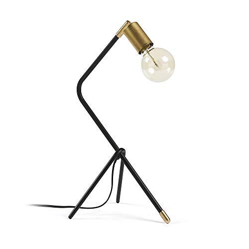 Kave Home - Lampe de table Jana noire et doré en acier et laiton