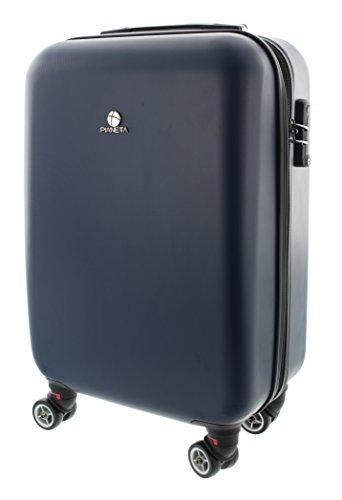 Pianeta Hartschalen-Koffer Trolley Reisegepäck Serie Paris 8 Räder (M (55cm), Dunkel Blau)
