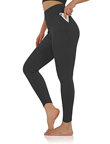 "ODODOS Women's 7/8 Side Pocket Yoga Leggings, High Waisted Workout Legging 25"" Inseam, Black, Small"
