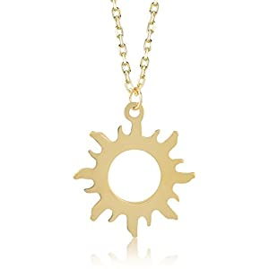 Gelin 14k Yellow Gold Good Vibes Only Sun Chain Pendant Necklace for Women – Certified Fine Jewelry Gift for Her, 18 inc