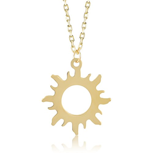 Gelin 14k Yellow Gold Good Vibes Only Sun Chain Pendant Necklace for Women - Certified Fine Jewelry Gift for Her, 18 inc