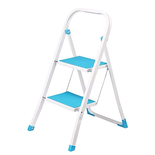 Household Ladder Stool Two Steps Non-slip Multi-functional 2-Step Pedals Folding Ladder Dual Use Indoor Step Stool Can bear 150kg