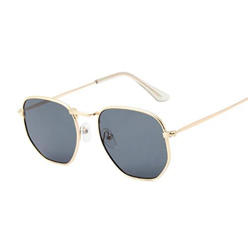 ShZyywrl Gafas De Sol De Moda Unisex Gafas De Sol Cuadradas Vintage para Mujer, Gafas De Sol Clásicas Retro para Mujer, Gris Dorado para Mujer