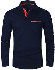 GHYUGR Heren poloshirt lange mouwen contrast zak polo shirt basic polo S-2XL