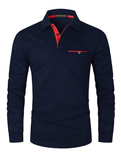 GHYUGR Polo à Manches Longues Homme Casual T-Shirt Couleur contrastée Poche Tops S-XXL (L, Bleu 1)