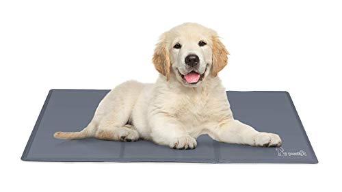 Pecute Alfombra Refrescante para Perro Actualización Engrosada 0.4mm 300D Oxford Alfombrilla de Refrigeración Automática para Animales de Compañía (L 90 * 50CM, Gris)