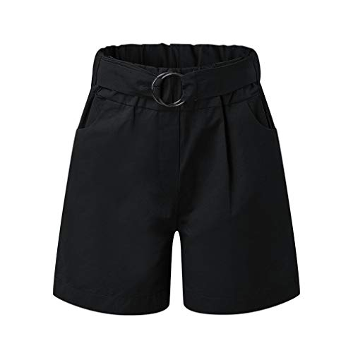 Women's Casual Elastic Waist Summer Beach Shorts Walking Shorts with Pockets,Loose Comfy Wide Leg Shorts Pants with Belt
