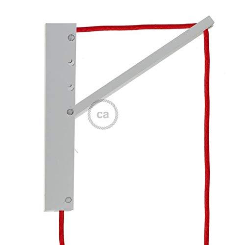 Pinocchio, système de fixation au mur réglable en bois verni blanc pour lampes à suspension.