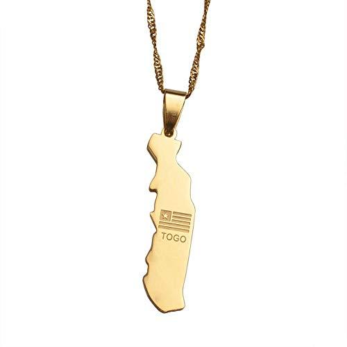 XZZZBXL Map Necklace for Women,Karte Togolaise Anhänger Halsketten Mode Persönlichkeit Für Frauen Mädchen Gold Farbe Charme Togo Karten Schmuck 60 cm (24 Zoll)-Thin_Kette