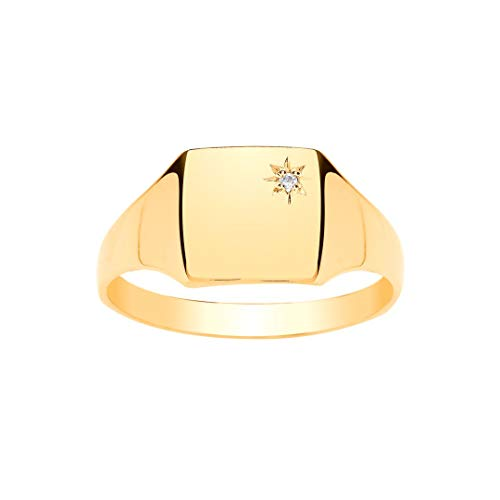 Anillo de oro amarillo 9ct caballero del cuadrado del diamante Signet (RY)