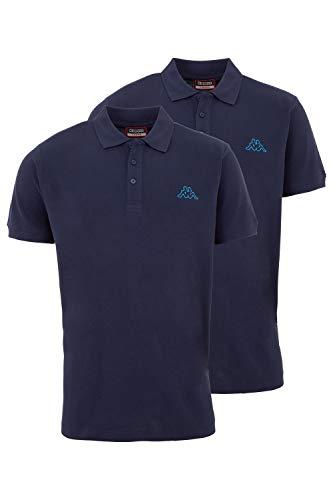 Kappa Herren Polo Shirt VENIST im 2er Pack | Polo-Hemd mit diskretem Logodruck und Kent Kragen | Basic Poloshirts für Männer | Kurzarm Poloshirt für Sport, Freizeit und Büro | Regular Fit | L