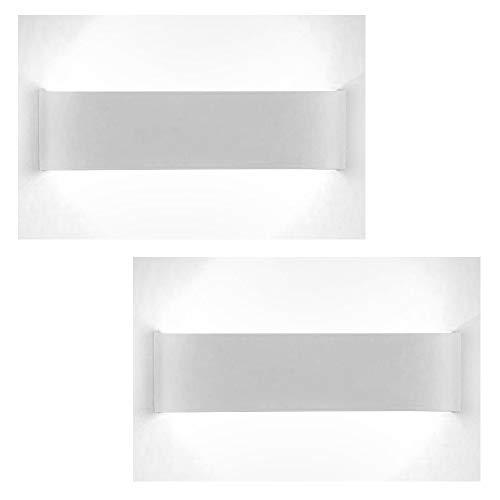XIAJIA-2 pcs12W LED Aplique Pared Interior,Moderna Apliques de Pared,Moda Agradable Luz de Ambiente,perfecto para Lámpara de Decoración para, Longitud 28.5cm,Blanco/Blanco frío