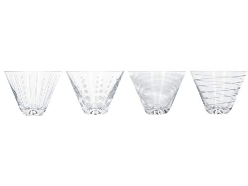 MIKASA 'Cheers' Stemless Martini Glasses/Martini Cocktail Glasses with Decorative Etching, Crystal Glass, Silver Effect, 400 ml, Set of 4