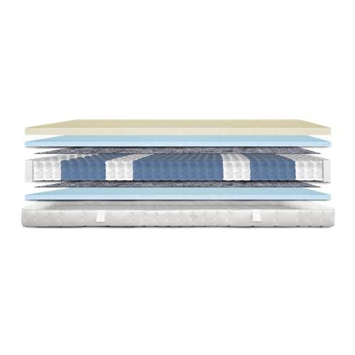 AM Qualitätsmatratzen - Visco-Matratze 90x200cm -H3 - Visco-Taschenfederkernmatratze - Matratze mit integrierter 6cm Visco-Auflage - 24cm Höhe - Made in Germany