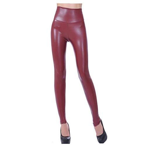 XBECO A Vita Alta Ecopelle Leather Leggings Faux delle Donne Nero Sexy Le Ghette Lucide dei Pantaloni Elastici più I Pantaloni Dimensione Buona Elasticità (Color : Wine Red, Size : M)